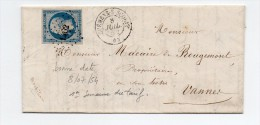 !!! 20C EMPIRE SUR LETTRE DE GUEMENE DU 8/7/1854 (1ERE SEMAINE DU TARIF) PC 1462 - 1849-1876: Classic Period