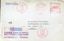 4599 Spain,  Red Meter Freistempel 1991 La Coruna  Asistencia Medica, Circuled - Marcophilie - EMA (Empreintes Machines)