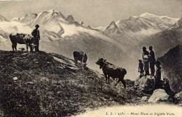 74 CHAMONIX Aiguille Verte Et Mont-Blanc Animée Vaches - Chamonix-Mont-Blanc