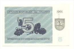 Lituania - 5 Talonas 1991^ - Lithuania