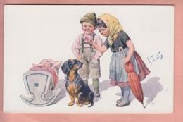 OLD POSTCARD  CHILDREN DOG DACHSHUND BY FEIERTAG - Chiens