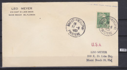 FRANCE 1951, LETTER SENR FROM BREST 11. 6. 1951, TO USA, MIAMI BEACH, 5 FRANCS, See Scans - France