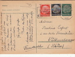 Lettre CaD Dresden >> Entier + Complément Pour La France 1939