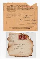 !!! LETTRE DE POSTE AERIENNE DE 1942 POUR LE MAROC ACCIDENTEE + ENVELOPPE DE REEXPEDITION D'ALGER - Crash Post