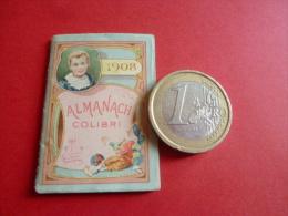PETIT ALMANACH  COLIBRI  pour porte monnaie  tarif postal et telegraphique tarifs calendrier 1908 illustration  chromo