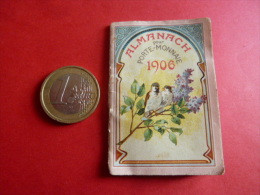 PETIT ALMANACH  pour porte monnaie 1906 tarif postal et telegraphique tarifs calendrier  illustration cirque  chromo