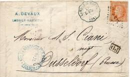 France Cachet Convoyeur Station Lons Le Saunier Pour La Prusse 1868 - Marcophilie (Lettres)