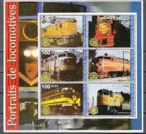 Trein, Trains, Railway, Eisenbahn: Benin Blok Gestempeld Met 6 Locs - Trains