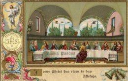 Cartolina Antica Cromolitografia BUONA PASQUA 1918 Cenacolo Del Ghirlandaio - L99 - Pasqua