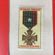 VIGNETTE CROIX DE GUERRE 1914-1918. RUBAN AVEC ETOILE.