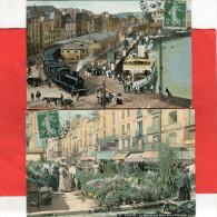 DIEPPE  1905   LOT DEUX CPA TRAIN EN VILLE / MARCHE AUX FLEURS  CIRC OUI EDIT - Dieppe