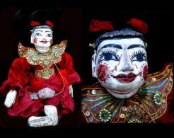 Très Jolie Marionnette Du Zat Pwe Puppet Birman: L´enfant Heureux The Happy Child Vintage Burmese Puppet - Marionette