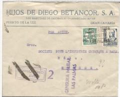 CANARIAS LAS PALMAS CC A SUIZA SELLO ISABEL Y SOBRECARGA LOCAL PARA CORREO AEREO MARCA DE CENSURA MILITAR Y MAT CORREO A - 1931-50 Storia Postale