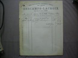 AVESNES DESCAMPS-LACROIX VINS EAUX DE VIE LIQUEURS & SIROPS EN GROS GRANDE RUE N° 6 & 8 FACTURE DU 14 OCTOBRE 1889 - 1800 – 1899