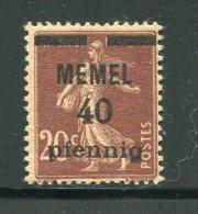 MEMEL- Y&T N°22- Neuf Avec Charnière * - Memel (1920-1924)