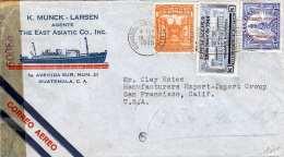 GUATEMALA 1944 Schöne 3 Fach Frankierung Auf FP-Firmen Brief Zensuriert Schiffstransporte K.MUNK-LARSEN AGENTE The East - Guatemala