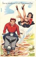 Themes Div -ref L889- Dessin Illustrateur Louis Carriere - Pinup -le Scooter -theme Scooters - Carte Bon Etat  - - Cartes Postales