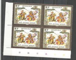 La Légende Du Roi Arthur (Lancelot), Bloc De 4 Timbres Neufs ** De L'île SAINT VINCENT. Côte 27,50 €. Haute Faciale $ 5. - Fairy Tales, Popular Stories & Legends