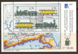 Finland Finlande Suomi 1987 Yvertnr Bloc 3 (°) Oblitéré Used  Chemin De Fer Cote 18 Euro - Finlandia