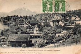 SUISSE-WEGGIS- UNTERDORF MIT PILATUS UND WIERWALDSTATTERSEE - SZ Schwyz