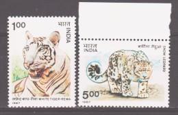 India 1987 Indien Mi 1127-1128 Wild Animals: White Tiger And Snow Leopard / Wildtiere **/MNH - Félins