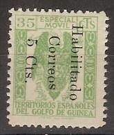 Guinea 259B (*) Fiscal Habilitado. 1939. Sin Goma - Spanish Guinea