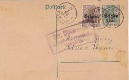 "D Bez In B 14-18 : ENTIER 5 C + PZ 3 C. ""HORNU 1917"" + Censuur MONS - [OC1/25] General Gov."