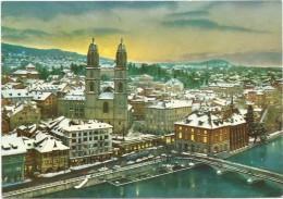 ZURICH GROSSMÜNSTER HELMHAUS UND WASSERKIRCHE IM WINTER - ZH Zurich