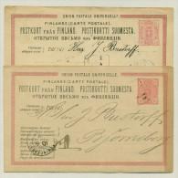 Suomi Finland - 1885 - 2x10 P Brefkort - Different Colors -  Used To Björneborg - Ganzsachen