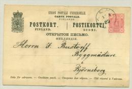 Suomi Finland - 1889 - 10 P Brefkort -  Used To Björneborg - Ganzsachen