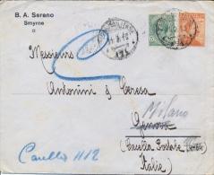 Regno D'Italia 1919 Occupazione Anatolia Lettera Commerciale Da Posta Militare 151 (Smyrne) Per Genova Rispedita Mlano - Guerre Mondiale (Première)