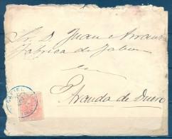 1885 , VALLADOLID , SOBRE CIRCULADO , MATASELLOS TIPO TRÉBOLDE PEÑAFIEL EN AZUL. ED. 210, LLEGADA - 1875-1882 Royaume: Alphonse XII
