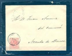 1885 , BURGOS , SOBRE CIRCULADO , MATASELLOS TIPO TRÉBOL DE VILLARCAYO , ED. 210 , LLEGADA - 1875-1882 Royaume: Alphonse XII