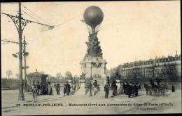 Cp Neuilly Sur Seine Hauts De Seine, Monument élevé Aux Aéronautes, Siège Paris - Otros Municipios