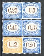 San Marino Tasse 1939 Colori Azzurro E Arancio Serie N. 54 - 59 MNH - Segnatasse