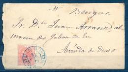 1886 , BURGOS , SOBRE CIRCULADO , MATASELLOS TIPO TRÉBOL DE SALAS DE LOS INFANTES EN AZUL , ED. 210 , LLEGADA - 1875-1882 Royaume: Alphonse XII