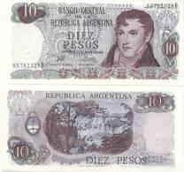 BILLETE BILLET BANCO CENTRAL DE LA REPUBLICA ARGENTINA DIEZ PESOS TBE GENERAL MANUEL BELGRANO 1969 - Argentinië