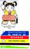 MYANMAR - Visit Myanmar Year 1996(reverse B-200 Units), Tirage 15000, Mint