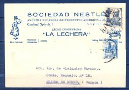 1937 , GUERRA CIVIL , SEVILLA , TARJETA POSTAL COMERCIAL CIRCULADA  , SOCIEDAD NESTLÉ , LA LECHERA - 1931-Hoy: 2ª República - ... Juan Carlos I