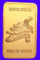 Sud Africa Lingot Plaquée OR 24 Carats 28 G  Krugerrand Et Springbok - Tokens & Medals