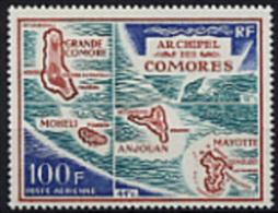 Comores, Comoros, 1971, Map, MNH, Michel 123 - Comoro Islands (1950-1975)