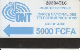IVORY COAST - ONT Logo, First Issue 5000 FCFA, Used - Ivory Coast
