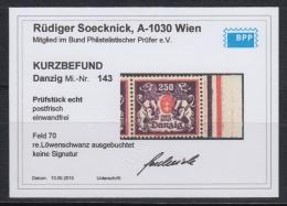 (00096) Danzig 143 Postfrisch Geprüft Befund Feld 70 - Danzig