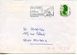 Flamme Animaux,faune,felin,lion,carrefour Europe,etoile,logo OTAN,santé,pharmacie,lettre Liberté Gandon 1.60,12.1.1984 - Roofkatten