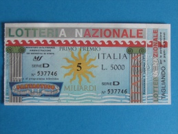 BIGLIETTO LOTTERIA ITALIA 1991 CON TAGLIANDO - Biglietti Della Lotteria