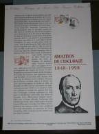 FRANCE 1998 -  ABOLITION DE L ' ESCLAVAGE 1848 / 1998 - Documents De La Poste