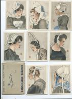 Région Bretagne, Coiffes Bretonnes, Pochette Avec Série Complète De 8 Mignonettes Illustrées Par Géo Fournier - Bretagne