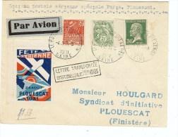 ENVELOPPE  CACHET SPECIAL+ VIGNETTE FETE AVIATION PLOUESCAT 1931 - Aviazione