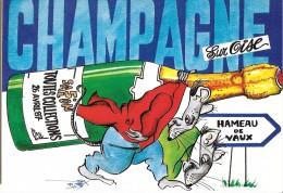 BOURSE SALON COLLECTIONS CHAMPAGNE SUR OISE  5 EME SALON 1987 BOUTEILLE CHAMPAGNE SOURIS RATS  ILL. QUENTIN - Bourses & Salons De Collections