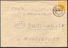 (1592) Brief Aus (13a) BAYREUTH 2 Vom 18.5.1946, Postleitzahl Im Tagesstempel, Nach Burghausen über Schweinfurth - Zona AAS